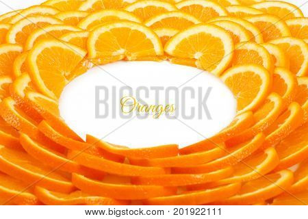 Background of orange slices. Shape of a circle of orange slices.