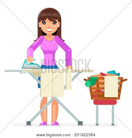 Housework Electric Iron Clean Laundry Clothes Domestic Household Board Household Housewife Female Character Girl Cartoon Flat Design Vector illustration