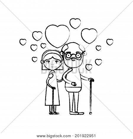 blurred silhouette of caricature full body elderly couple embraced with floating hearts grandfather in walking stick and grandmother with bow lace and short hair vector illustration