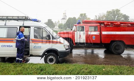Orel Russia August 29 2017: Collapse of old apartment house. Red fire truck and ambulance car at catastrophe site horizontal