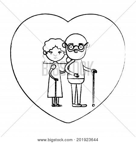 blurred silhouette of heart shape greeting card with caricature full body elderly couple embraced bearded grandfather in walking stick and grandmother with wavy hair vector illustration