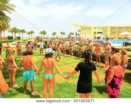 Sharm el Sheikh -April 12, 2017: Tourists doing the animation game at Barcelo Tiran Sharm Hotel 5 at Sharm el Sheikh on April 12, 2017