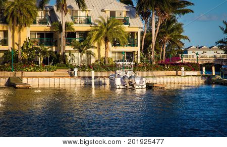 Boat and dock in turtle bay turks and caicos