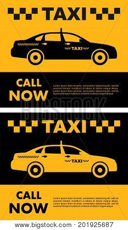 Taxi service design over yellow and black background. Silhouette of taxi car. Vector flat illustration.