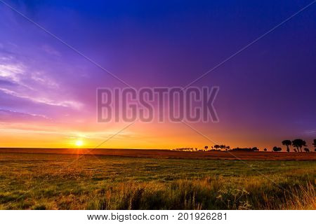 Beautiful Sunset Sky Over Meadows