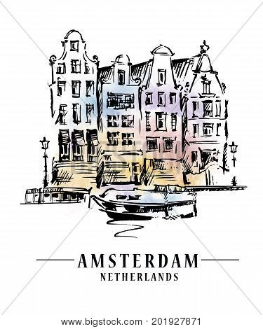 Bridge in Amsterdam, Holland, Netherlands Europe. Hand drawing. Travel sketch. Book illustration, postcard, poster in vector
