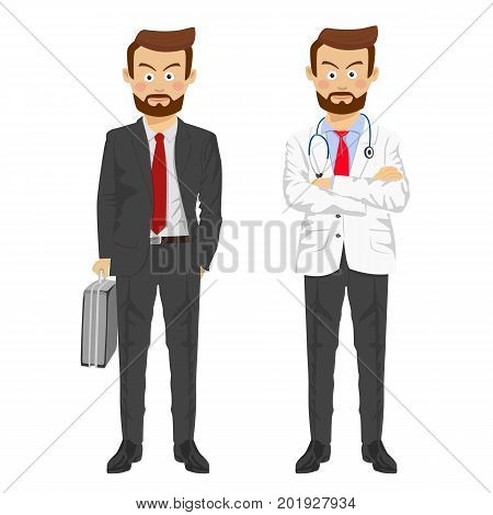 The same man showing two characters as doctor and businessman over white background