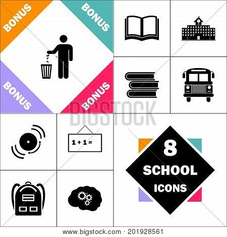 Bin Icon and Set Perfect Back to School pictogram. Contains such Icons as Schoolbook, School  Building, School Bus, Textbooks, Bell, Blackboard, Student Backpack, Brain Learn