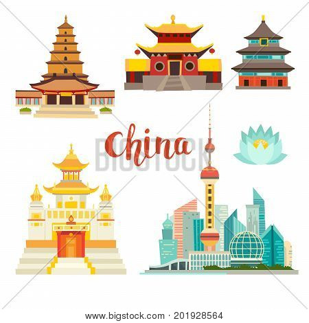 China landmarks vector icons collection. Chinese architecture. China landmarks: Shanghai cityscape Chinese Temples and lotus