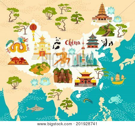 China illustrated map hand drawn vector illustration for kid and children. Chinese landmarks icons temple and dragon. Shaolin monk lanterns pandas and rice fields