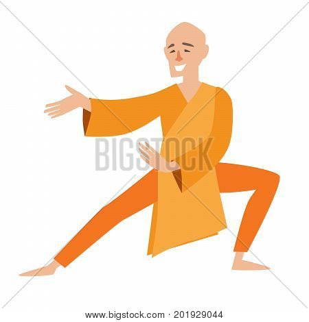 Shaolin monk vector icon. Chinese man in cartoon style. Isolated on white background