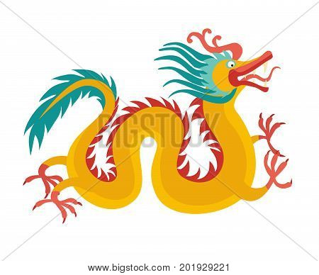 Chinese dragon card. Traditional symbol dragon decoration. Flat cartoon vector illustration isolated on white background