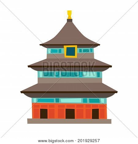 Temple of Heaven vector icon. China house cartoon style. Chinese temple Isolated on white background. Pagoda temple
