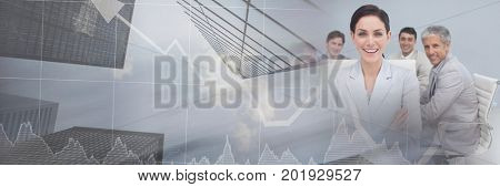Digital composite of Business people having a meeting with financial stock skyscrapers transition effect