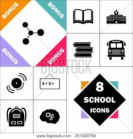 Molecule Icon and Set Perfect Back to School pictogram. Contains such Icons as Schoolbook, School  Building, School Bus, Textbooks, Bell, Blackboard, Student Backpack, Brain Learn