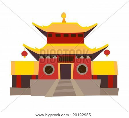 Shaolin temple vector icon. China house in cartoon style red color. Chinese temple Isolated on white background. Pagoda temple