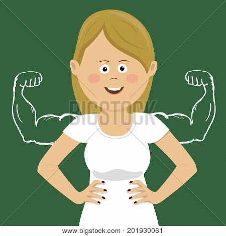 Young happy cute woman with sketched strong and muscled arms