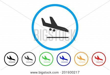 Aiplane Landing vector rounded icon. Image style is a flat gray icon symbol inside a blue circle. Bonus color versions are gray, black, blue, green, red, orange.