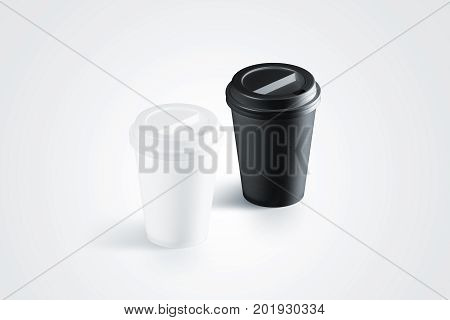 Blank black and white disposable paper cup with plastic lid mock up isolated 3d rendering. Empty polystyrene coffee drinking mug mockup isometri view. Clear plain tea take away package