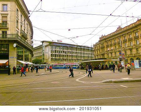 Zurich, Switzerland - May 02, 2017: The city center of Zurich, Switzerland. People on the background at Zurich, Switzerland on May 02, 2017