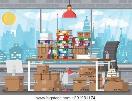 Pile of paper documents and file folders on office table. Carton boxes. Bureaucracy, paperwork, office. Chair, desk, lamp. Cityscape. Vector illustration in flat style poster