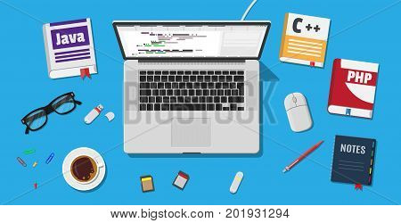 Workplace of programmer or coder. Desktop pc, laptop, books, coffee, glasses. Software coding, programming languages, testing, debugging, web site, search engine seo Vector illustration in flat style