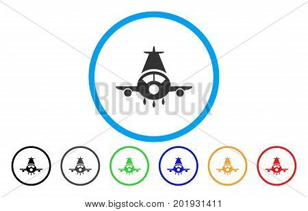 Cargo Plane vector rounded icon. Image style is a flat gray icon symbol inside a blue circle. Bonus color versions are grey, black, blue, green, red, orange.