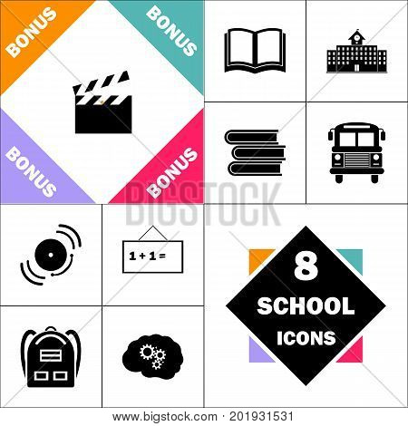 clap board Icon and Set Perfect Back to School pictogram. Contains such Icons as Schoolbook, School  Building, School Bus, Textbooks, Bell, Blackboard, Student Backpack, Brain Learn