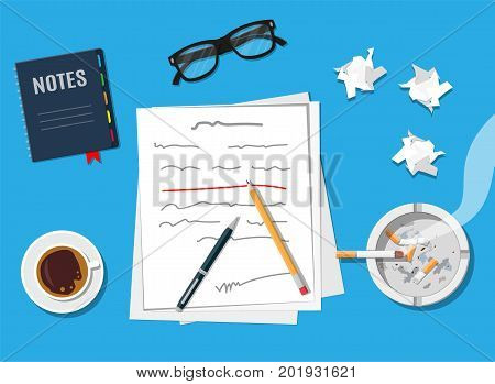Writer or journalist workplace. Author with pen working on document. Paper draft sheets with text, pencil. Ashtray, cigarette, coffee cup. Eyeglasses. Vector illustration in flat style
