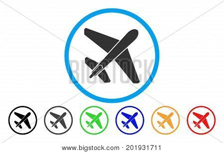 Jet Airplane vector rounded icon. Image style is a flat gray icon symbol inside a blue circle. Bonus color versions are grey, black, blue, green, red, orange.