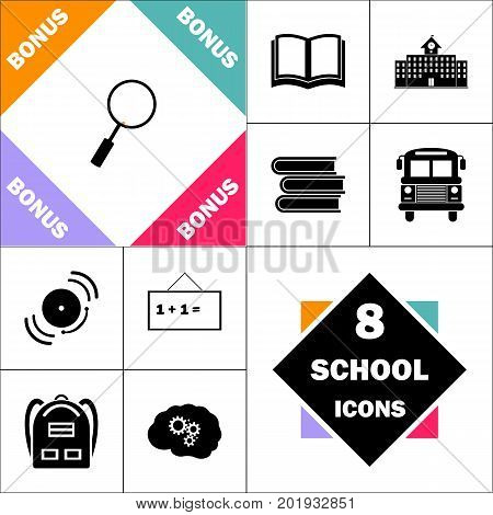 Loupe  Icon and Set Perfect Back to School pictogram. Contains such Icons as Schoolbook, School  Building, School Bus, Textbooks, Bell, Blackboard, Student Backpack, Brain Learn