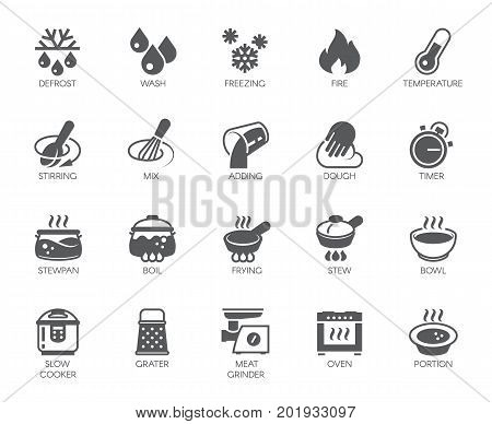 Icons set of household appliances, utensils and labels on culinary theme in flat style. Big vector collection of 20 cooking food graphic pictograms isolated on white background