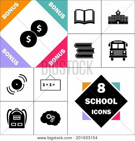 Coins Icon and Set Perfect Back to School pictogram. Contains such Icons as Schoolbook, School  Building, School Bus, Textbooks, Bell, Blackboard, Student Backpack, Brain Learn