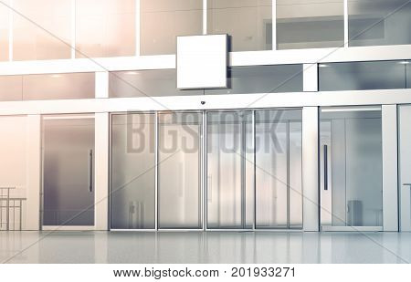 Blank white square signage mockup on the store glass sliding doors entrance 3d rendering. Commercial building automatic entry banner mock up. Closed transparent business centre facade front view.