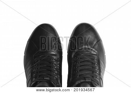 Men's leather short boots isolated on white background. Winter boots. Part of shoes