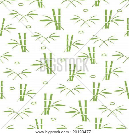 Cute seamless pattern with stones and bamboo leaves and stems. Design for poster or print.