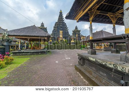 Besakih Temple in Bali, Indonesia. Ancient Traditional Hindu Religious Temple which s the most important temple in Bali, Indonesia.