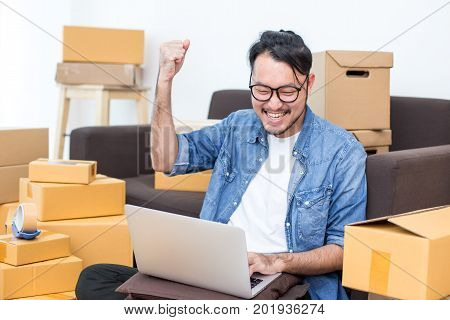 Young Asian Man Working At Home, Young Owner Man Start Up For Business Online, Sme, Delivery Project