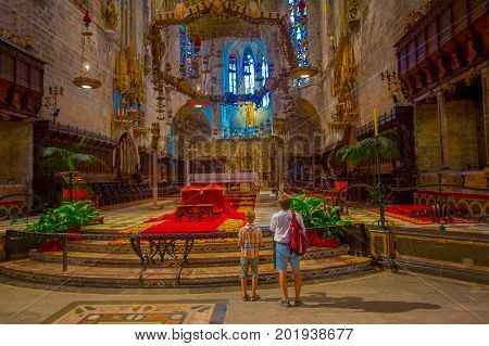PALMA DE MALLORCA, SPAIN - AUGUST 18 2017: Interior view of Cathedral of Santa Maria of Palma La Seu in Palma de Mallorca, Spain.