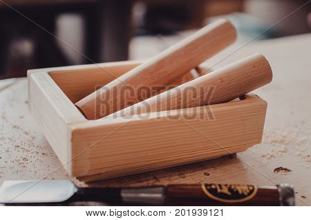 Woodworking Tools. Carving Chisels On The Table