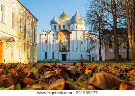 St Sophia Russian Orthodox cathedral at sunny autumn evening in Veliky Novgorod Russia - architecture autumn landscape of Veliky Novgorod Russia