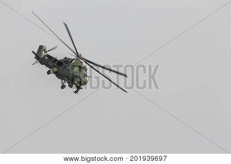 Radom, Poland - August 26, 2017 :polish Mi-24 During Air Show Radom 2017.