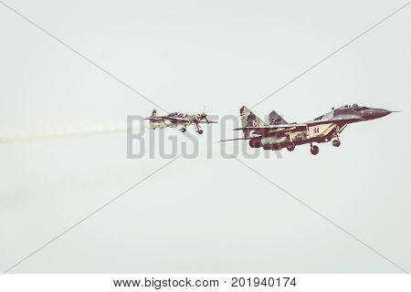 Radom, Poland - August 26: Polish Air Force, Mig 29 Fulcrum And Extra 330 During Air Show Radom 2017