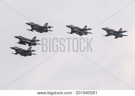 Radom, Poland - August 27, 2017 : Unidentified Pilots From Polish Army Present Lockheed Martin F-16
