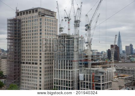 Construction site new skyscraper in London city seen