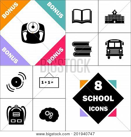 Bathroom scale Icon and Set Perfect Back to School pictogram. Contains such Icons as Schoolbook, School  Building, School Bus, Textbooks, Bell, Blackboard, Student Backpack, Brain Learn