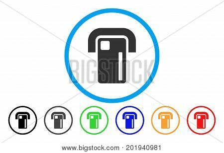 Payment Terminal vector rounded icon. Image style is a flat gray icon symbol inside a blue circle. Additional color versions are gray, black, blue, green, red, orange.