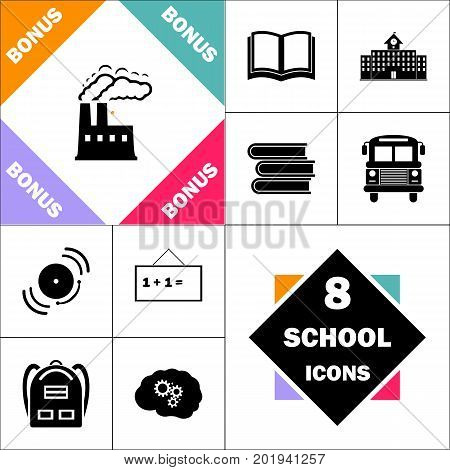 power plant Icon and Set Perfect Back to School pictogram. Contains such Icons as Schoolbook, School  Building, School Bus, Textbooks, Bell, Blackboard, Student Backpack, Brain Learn