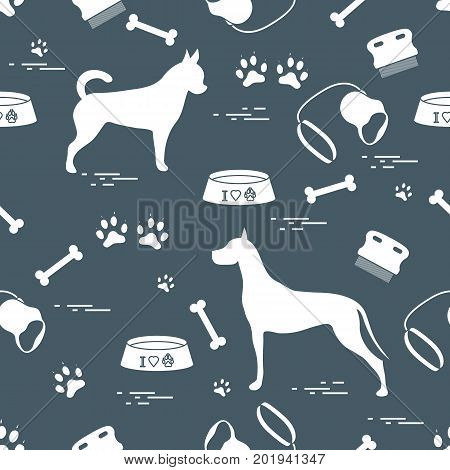 Seamless Pattern With Great Dane And Chihuahua, Silhouette, Comb, Collar, Leash, Bone, Bowl For Food