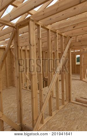 Building a house in skeleton technology stage before installing thermal insulation